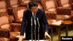 Thủ tướng Nhật Bản Shinzo Abe trả lời thẩm vấn tại buổi họp quốc hội ở Tokyo ngày 19/3/2018.