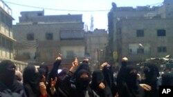 上個星期在大馬士革的郊外舉行的反政府抗議活動
