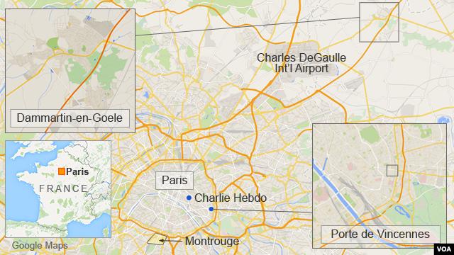 Map of Paris showing Dammartin-en-Goele and Porte de Vincennes