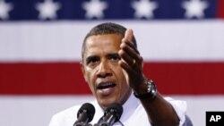 Rais wa Marekani Barack Obama akiwahutubia wanafunzi wa chuo kikuu cha Richmond, huko Virginia kuhusu mpango wake wa kubuni ajira kwa taifa. Septemba 9,2011