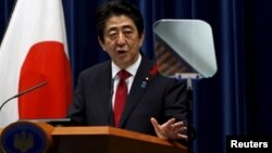 Japan's Prime Minister Shinzo Abe speaks during a news conference at his official residence in Tokyo, Japan, October 6, 2015.