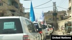 Un convoi de Nations unies dans la Ghouta, Syrie, le 6 mars 2018.