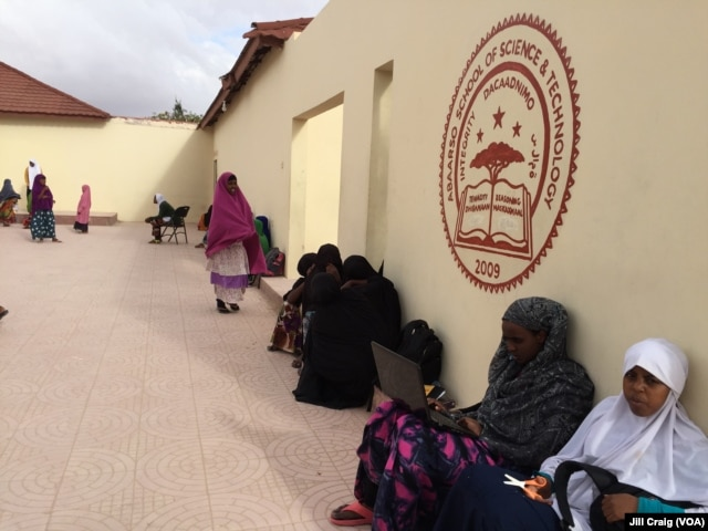 Students at Abaarso School of Science and Technology relax in a courtyard after school, in Hargeisa, Somaliland, April 3, 2016.
