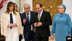 Мелания Трамп на встрече с президентом Египта Абдул-Фаттахом Ас-Сиси и его женой Энтиссар Мухамед Амер