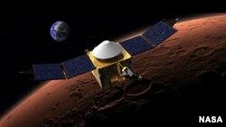 NASA illustration of MAVEN spacecraft orbiting Mars.