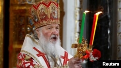 Patriarch of Moscow and All Russia Kirill conducts the Orthodox Easter service at the Christ the Savior Cathedral in Moscow, Russia, May 1, 2016.