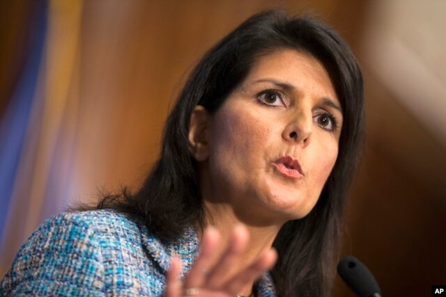 """FILE - South Carolina Gov. Nikki Haley, shown speaking at the National Press Club in Washington, Sept. 2, 2015, said in her party's response to the State of the Union address that """"there is more than enough blame to go around"""" for the nation's problems."""