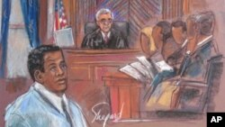 This September 29, 2010 courtroom sketch shows defendant Ahmad Khalfan Ghailani (L) during jury selection in New York. Ghailani remains the only detainee from Guantanamo Bay to be brought to the United States so far.