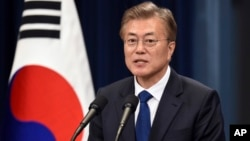 South Korea's new President Moon Jae-In speaks during a press conference at the presidential Blue House in Seoul Wednesday, May 10, 2017. Moon has said he would do everything he could to reduce tensions on the Korean Peninsula.