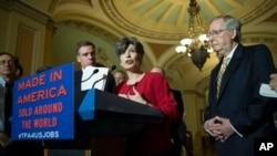 艾奥华州参议员恩斯特(中)、维吉尼亚州参议员沃纳(左)、参议院多数党领袖麦康奈尔(右)