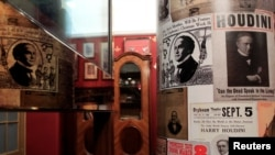 Posters are seen in the House of Houdini museum in Budapest, Hungary, Dec. 19, 2016.