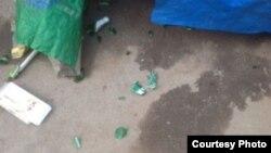 陳光福家中被扔擲啤酒瓶子 (陳光福微博圖片)