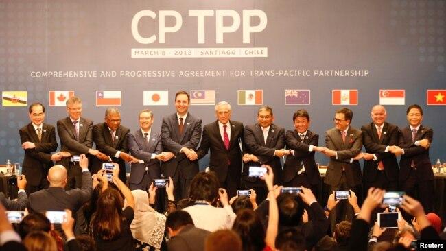 Đại diện các nước ký kết hiệp định CPTPP ở Santiago, Chile