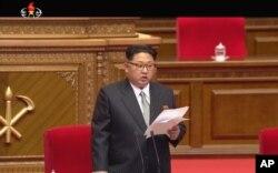 North Korean leader Kim Jong Un addresses the congress in Pyongyang, North Korea, May 6, 2016.
