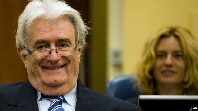 Suspected war criminal and former Bosnian Serb leader Radovan Karadzic at the U.N. war crimes tribunal in The Hague, Netherlands, Oct. 16, 2012.