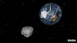 Gambar simulasi Asteroid 2012 DA14 yang mendekat dari arah selatan dan melintasi Bumi pada 15 Februari 2013 mendatang. (NASA/JPL-Caltech)
