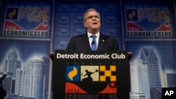 "Former Florida Gov. Jeb Bush speaks at a Economic Club of Detroit meeting in Detroit Wednesday, Feb. 4, 2015. The Detroit event is the first in a series of stops that Bush's team is calling his ""Right to Rise"" tour. That's also the name of the political action committee he formed in December 2014 to explore a presidential run. (AP Photo/Paul Sancya)"