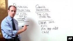Jedan od predsjednikovih ekonomskih savjetnika, Austan Goolsbee, objašnjava novinarima Obamin kompromis s republikancima