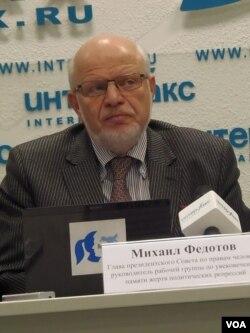 俄罗斯总统下属的人权委员会主席菲多托夫。(美国之音白桦拍摄)