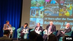 Direktur Pelaksana Bank Dunia Sri Mulyani dalam diskusi 10 tahun tsunami Aceh di Washington, DC. (VOA/Eva Mazrieva)