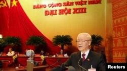 Tổng bí thư Nguyễn Phú Trọng phát biểu tại phiên khai mạc Đại hội 13 của Đảng Cộng sản Việt Nam hôm 26/1.