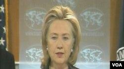 Državni sekretar, Hillary Clinton na konferenciji za novinare u State Departmentu u Washingtonu