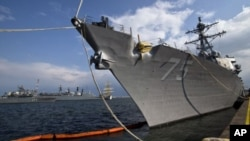 El destructor estadounidense USS Donald Cook, fondeado en el puerto rumano de Constanta.