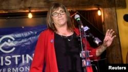 Kandidatkinja Demokratske stranke za guvernera Vermonta Kristin Holkvist na proslavi svoje pobede na primarnim izborima u Burlingtonu (Foto: Reuters/Caleb Kenna)