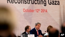 Ngoại trưởng Mỹ John Kerry phát biểu tại Hội nghị tái thiết Dải Gaza ở Cairo, ngày 12/10/2014.