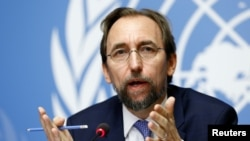 FILE - Zeid Ra'ad Al Hussein, U.N. High Commissioner for Human Rights, speaks earlier this year in Geneva, Switzerland. The officials voiced criticism of U.S. President Donald Trump's comments about some news media.