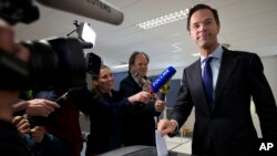 FILE - Dutch Prime Minister Mark Rutte in The Hague, Netherlands, April 6, 2016.