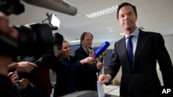 PM Belanda Mark Rutte dalam referendum perjanjian EU-Ukraina, The Hague, Netherlands