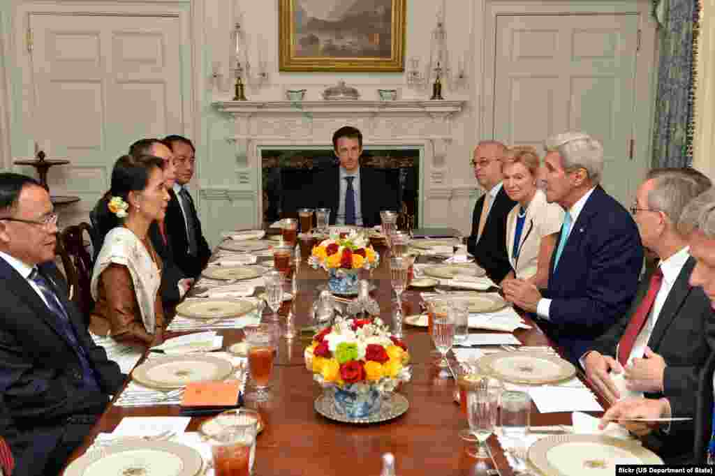 U.S. Secretary of State John Kerry participates in a luncheon with at the Blair House in Washington, D.C., Sept. 14, 2016.