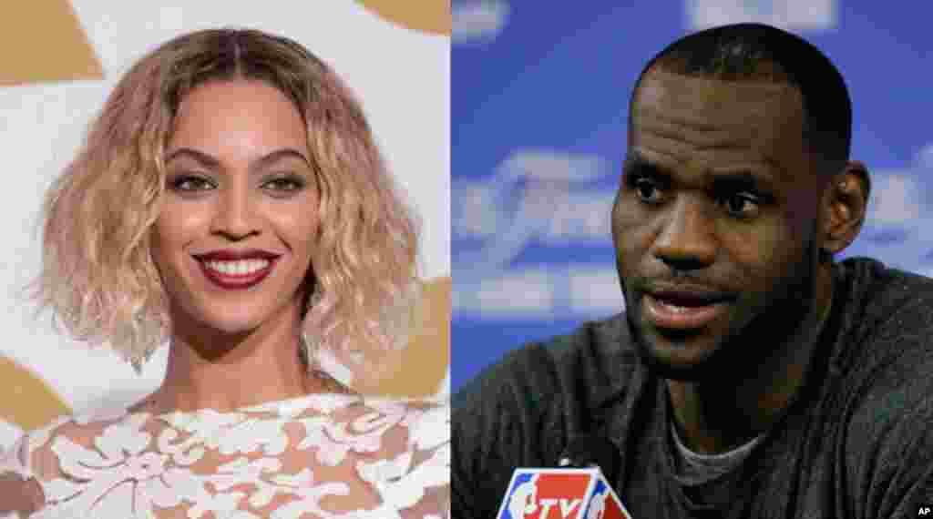 A cantora Beyonce e a estrela do basquetebol LeBron James lideram a lista das celebridades mais poderosas no mundo, publicada a 30 de Junho de 2014 pela revista Forbes.