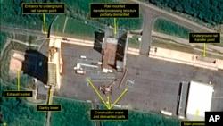 2018年7月22日的衛星圖片顯示北韓西海衛星發射中心的一個引擎測試架部份拆除。
