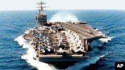 """美国航空母舰""""乔治·华盛顿""""号(资料照片)"""