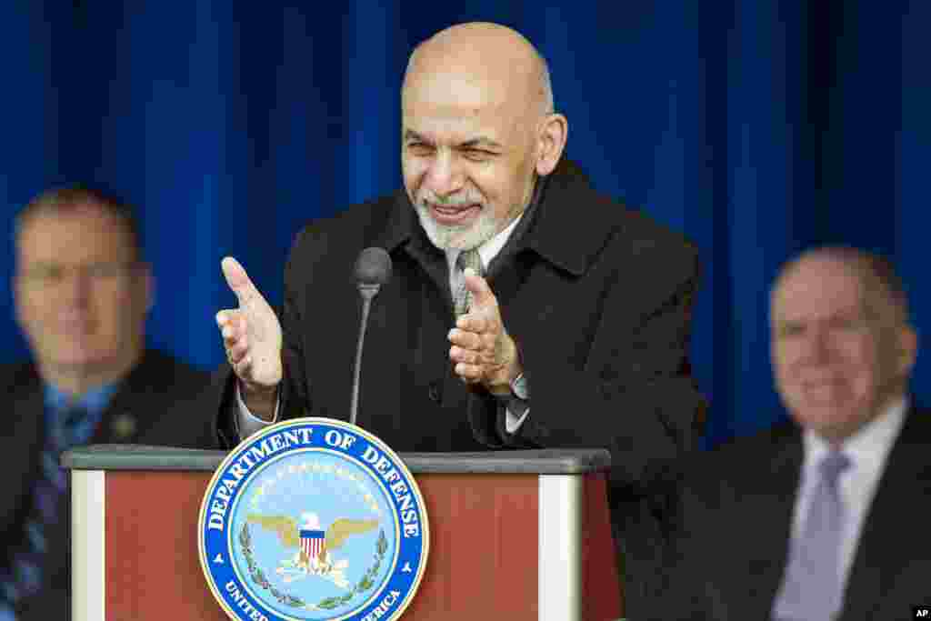 Afghan President Ashraf Ghani speaks at the Pentagon, thanking U.S. troops and taxpayers for their sacrifices in nearly 14 years of war, March 23, 2015.