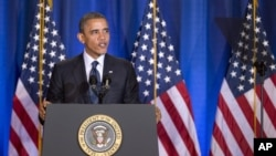 Tổng thốnng Obama đọc diễn văn tại trường Ðại học Quốc phòng ở Washington, ngày 3/12/2012.