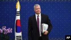 美國北韓問題特使史蒂芬·比根2018年9月11日訪問韓國(美聯社)