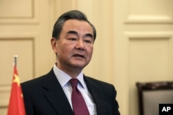 Chinese Foreign Minister Wang Yi speaks during a meeting in Athens, on April 23, 2017.