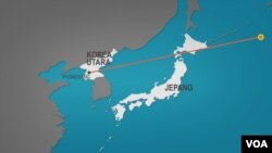 Korea Utara meluncurkan sebuah rudal yang terbang melewati Jepang Selasa (29/8) pagi, dan jatuh di Samudera Pasifik, di timur Pulau Hokkaido.