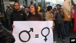 Marche pour l'égalité des genres à Rabat, au Maroc, le 4 décembre 2011.