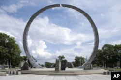 The Michigan Labor Legacy Monument in Detroit was sculpted in 2001 by David Barr and Sergio DeGiusti.
