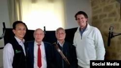Từ trái sang: ông Phạm Văn Nam, ông Lê Trọng Quát, ông Vũ Thư Hiên, và ông Fred Koster. Photo Facebook Nam Pham