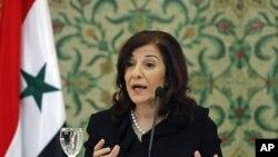 ນາງ Bouthaina Shaaban ທີ່ປຶກສາ ແລະໂຄສົກຂອງປະທານາທິບໍດີ Bashar al-Assad ຂອງຊີເຣຍ ຜູ້ທີຖືກກັກຊັບສິນ ແລະຫ້າມປະກອບ ທຸລະກິດໃດໆ ໃນຈໍານວນບຸກຄົນສໍາຄັນ 3 ຄົນ ຂອງລັດຖະບານຊີເຣຍ