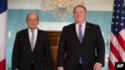 دیدار مایک پمپئو وزیر خارجه آمریکا و ژان ایو لودریان وزیر خارجه فرانسه در واشنگتن - ۴ اکتبر ۲۰۱۸