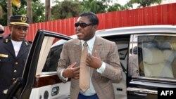 Teodorin Nguema Obiang, le fils du président équato-guinéen et vice-président chargé de la défense et de la sécurité de l'État, à Malabo, 25 juin 2013.