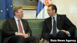 Potpredsednik Vlade Srbije Aleksandar Vučić i komesar za proširenje EU Štefan File u Beogradu, 18. mart 2013.