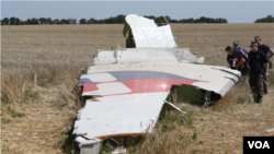 FILE - Investigators are seen at the MH17 crash site near Hrabovo, Donetsk region, eastern Ukraine, on July 28, 2014.