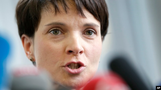 Frauke Petry, Chairwoman of the AfD, Alternative fuer Deutschland  (Alternative for Germany), party addresses the media during a press conference in Berlin, Feb. 22, 2016.